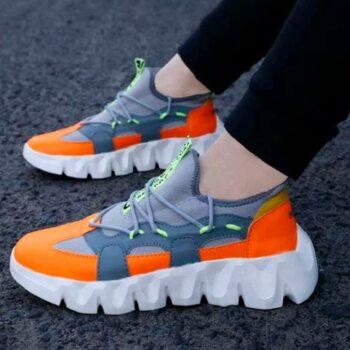 Trendy Sports Shoes for Men (Grey Orange)