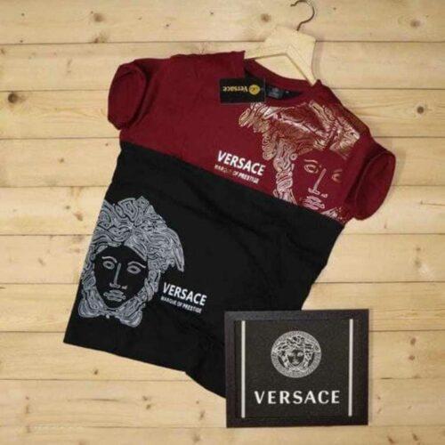 Versace Men's Tshirt Maroon Black