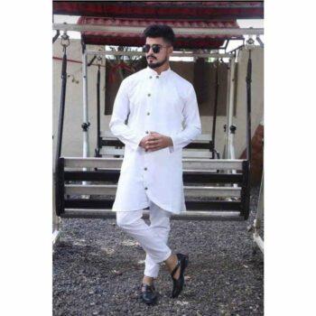 White Men's Cotton-Blend Kurta Pyjama Set
