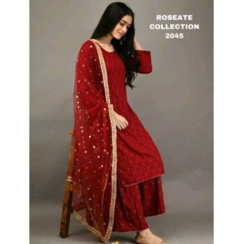 Women Rayon A-line Embroidered Long Kurti With Palazzo And Dupatta
