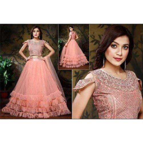 Womens Net Heavy Lehnga Choli Peach Colour 1