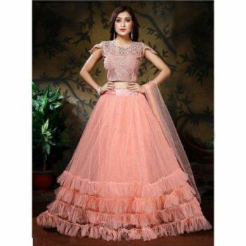 Women's Net Heavy Lehnga Choli Peach Colour