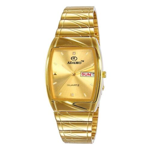 Adamo Square Dial Golden Watch for Men with Day and Date Display