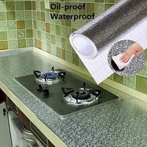 Aluminum Foil Self Adhesive DIY Kitchen Anti Oil Contact Paper Peel Stick Wall Stickers Waterproof Wallpaper Decal Stove Cabinets Counter tops Sticker Drawer Shelve Liner Silver 2 M 11