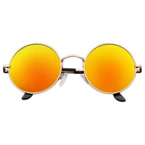 Arzonai Fashion New Round Oval Stylish Sunglasses for Men & Women (Golden-Orange Mirror)