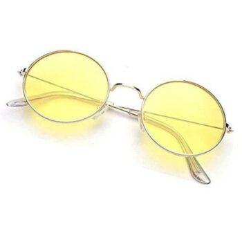 Arzonai Fashion New Round Oval Stylish Sunglasses for Men & Women (Golden-Yellow)