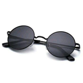 Arzonai Fashion New Round Oval Stylish Sunglasses for Men & Women (Black)