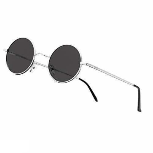 Arzonai Fashion New Round Oval Stylish Sunglasses for Men & Women (Silver-Black)