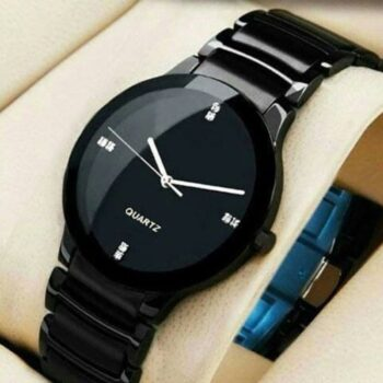 Attractive Black Stainless Steel Watch for Men