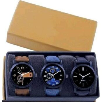 Attractive Leather Pack of 3 Watch for Men