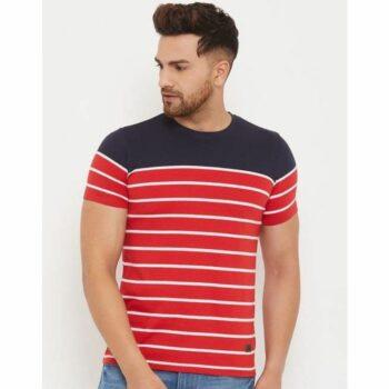Austin Wood Men's Striped Half Sleeve Round Neck Tshirt