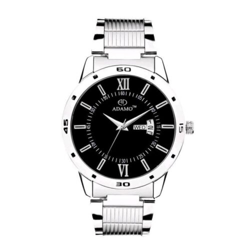 Black Dial Stainless Steel Watch for Men with Day Date Display