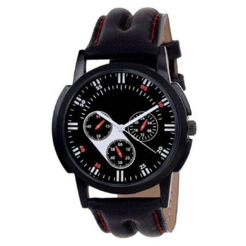 Black Leather Chronography Watch for Men
