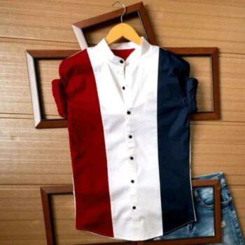 Classic Latest Colorblocked Men Cotton Shirt
