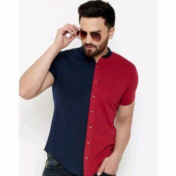 Comfy Latest Dual Color Men Cotton Shirt