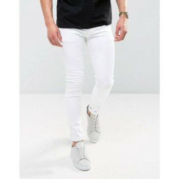 Stylish Cotton Lycra Jeans for Men White
