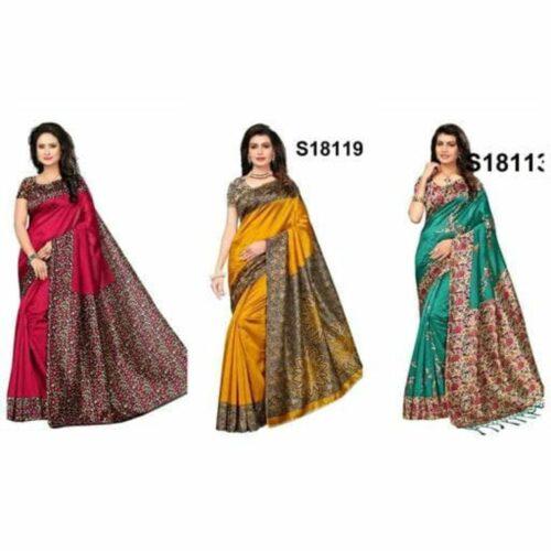 Fancy Mysore Silk Sarees (Pack of 3)