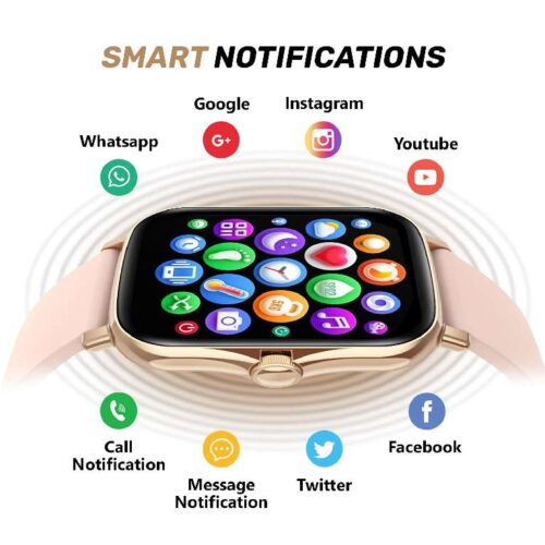 Fire-Boltt Beast SPO2 1-69 Full Touch Large HD Color Display Smart Watch, 8 Days Battery Life, IP67 Waterpoof with Heart Rate Monitor, Sleep & Breathe Monitoring with Rotating Button (Gold)