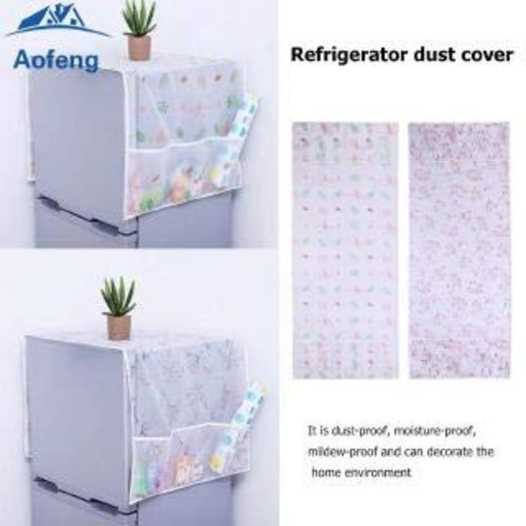 Home Transparent Printing Waterproof Cloth dust Cover Household Refrigerator Cover Towel Hanging Storage Bag Flamingo 130 X 55cm in Random Color Print 1pc 3
