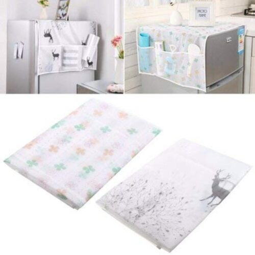 Home Transparent Printing Waterproof Cloth dust Cover Household Refrigerator Cover Towel Hanging Storage Bag Flamingo 130 X 55cm in Random Color Print 1pc 5