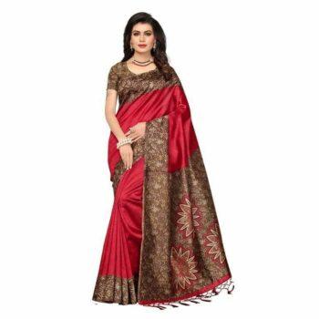 Kashvi Cotton Blend Saree With Tassels And Latkans