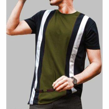Long Striped Colorblock Tshirt for Men