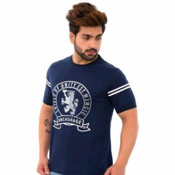 Men's Navy Blue Printed Cotton Short Sleeves Round Neck T-shirt