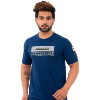 Men's Blue Printed Cotton Short Sleeves Round Neck T-shirt