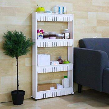 Multi Layer Space Saving Storage Organizer Rack Shelf with Wheels for Kitchen Bathroom (4 Layer) Plastic White
