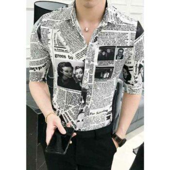 Pretty Graceful Men Newspaper Shirt