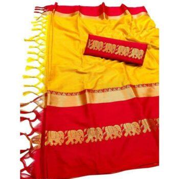 Rajawadi Elegant Elephant Design Cotton Silk Saree