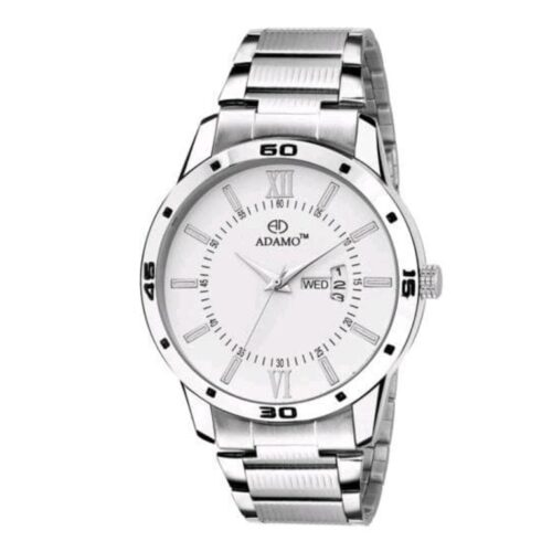 Round Dial Silver Watch for Men with Day and Date Display