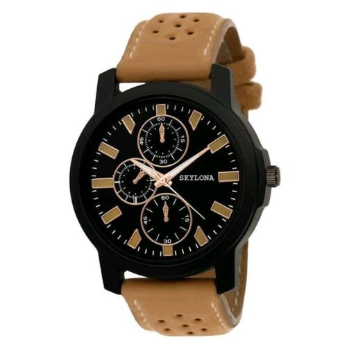 Skylona Brown Leather Watch for Men
