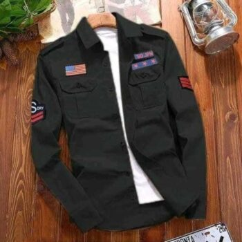 Stylish Cotton Black Cargo Shirt For Men
