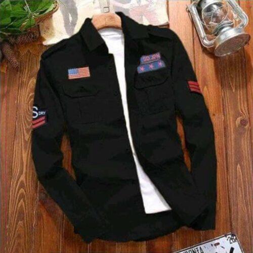 Stylish Cotton Cargo Black Shirt For Men