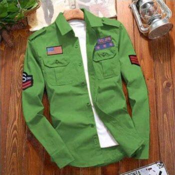 Stylish Cotton Cargo Green Shirt For Men