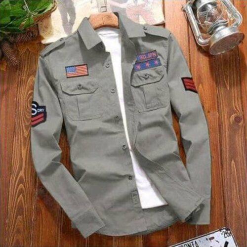 Stylish Cotton Cargo Grey Shirt For Men