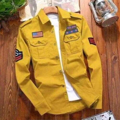 Stylish Cotton Cargo Yellow Shirt For Men