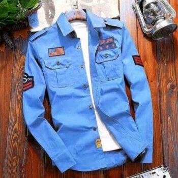 Stylish Cotton Light Blue Cargo Shirt For Men
