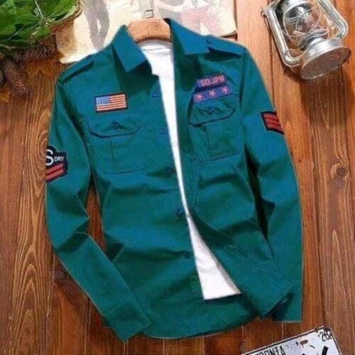 Stylish Cotton Blue Cargo Shirt For Men