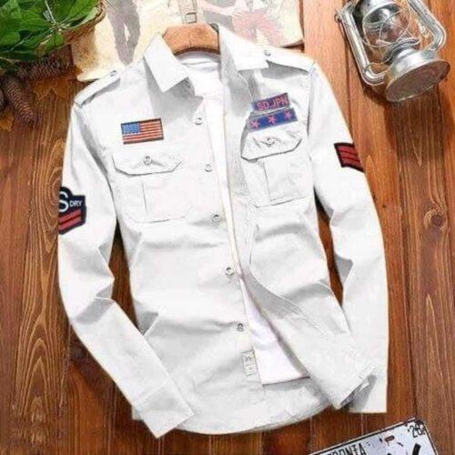 Stylish Cotton White Cargo Shirt For Men