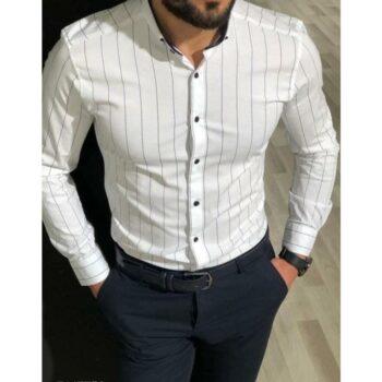 Trendy Partywear Men Striped Shirt