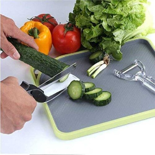 2 in 1 Stainless Steel Multi Functional Kitchen Vegetable Clever Cutter Scissor for Home Kitchen with Lock System Clever Cutter 1