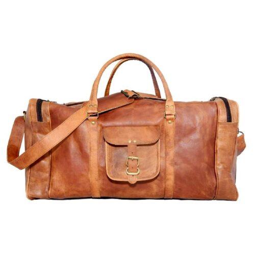 Aurik Brown Leather Vintage Handmade Square Travelling Bag_Duffle Ba