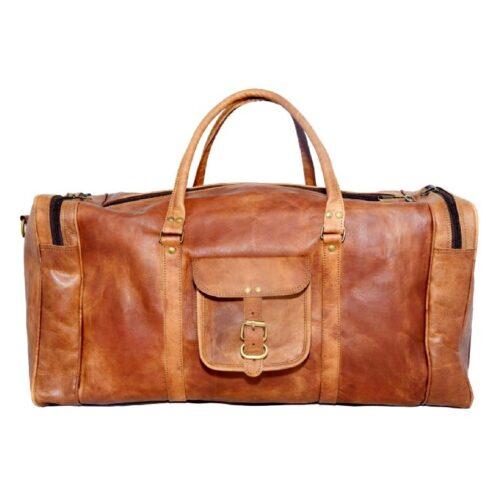 Aurik Brown Leather Vintage Handmade Square Travelling Bag_Duffle Bag