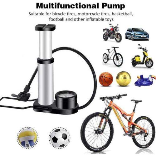 Bicycle Foot High Pressure Pump Portable Mini Bike Pump Foot Bicycle Tire Inflator with Pressure Gauge Bicycle Accessories Car Bike Ball Kids Swimming Tube 1 Piece 2
