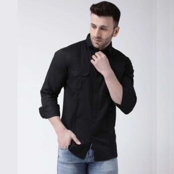 Black Solid Casual Shirt for Men