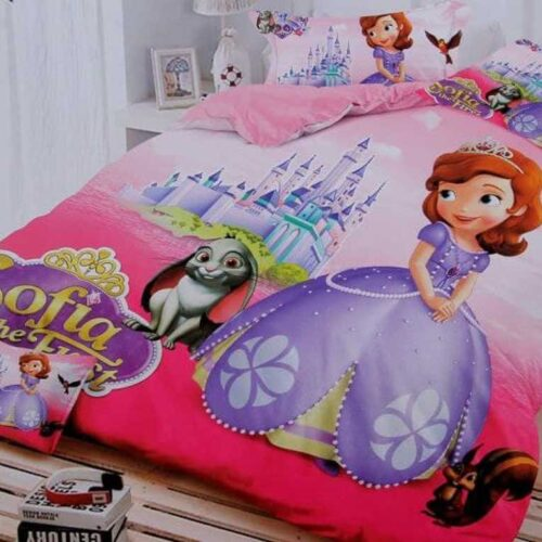 Cartoon Printed Glace Cotton Kids Double Bedsheet