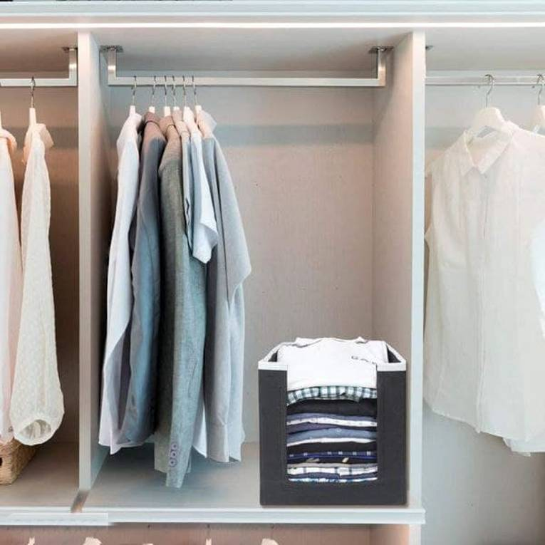 Closet Organizer-Foldable Shirts and Clothing Organizer Stackers (Pack of 3)