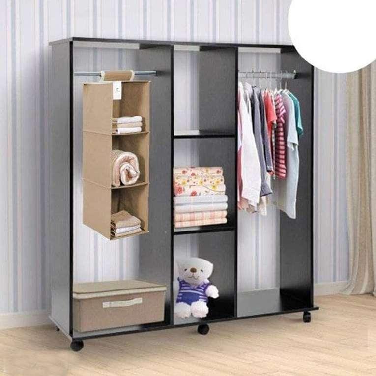Cloth Organizer - Hanging 3 Shelves Wardrobe Organizer